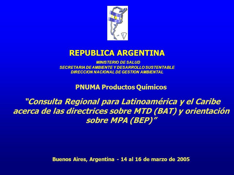 PNUMA Productos Químicos Consulta Regional para Latinoamérica y el Caribe acerca de las directrices sobre MTD (BAT) y orientación sobre MPA (BEP) Buenos Aires, Argentina - 14 al 16 de marzo de 2005 REPUBLICA ARGENTINA MINISTERIO DE SALUD SECRETARIA DE AMBIENTE Y DESARROLLO SUSTENTABLE DIRECCION NACIONAL DE GESTION AMBIENTAL