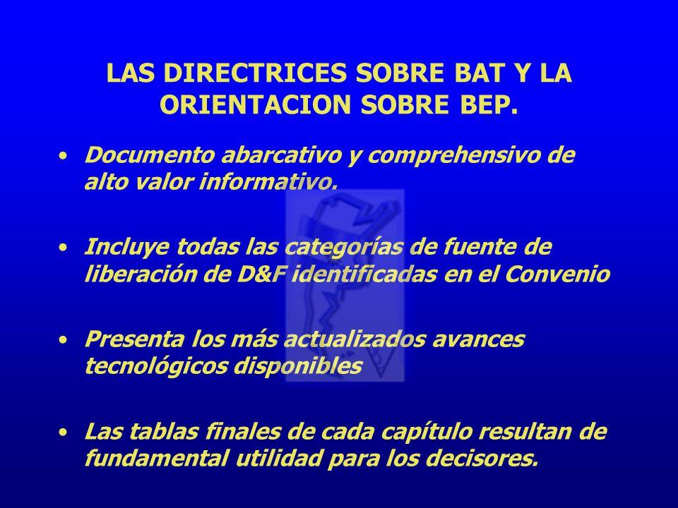 LAS DIRECTRICES SOBRE BAT Y LA ORIENTACION SOBRE BEP.