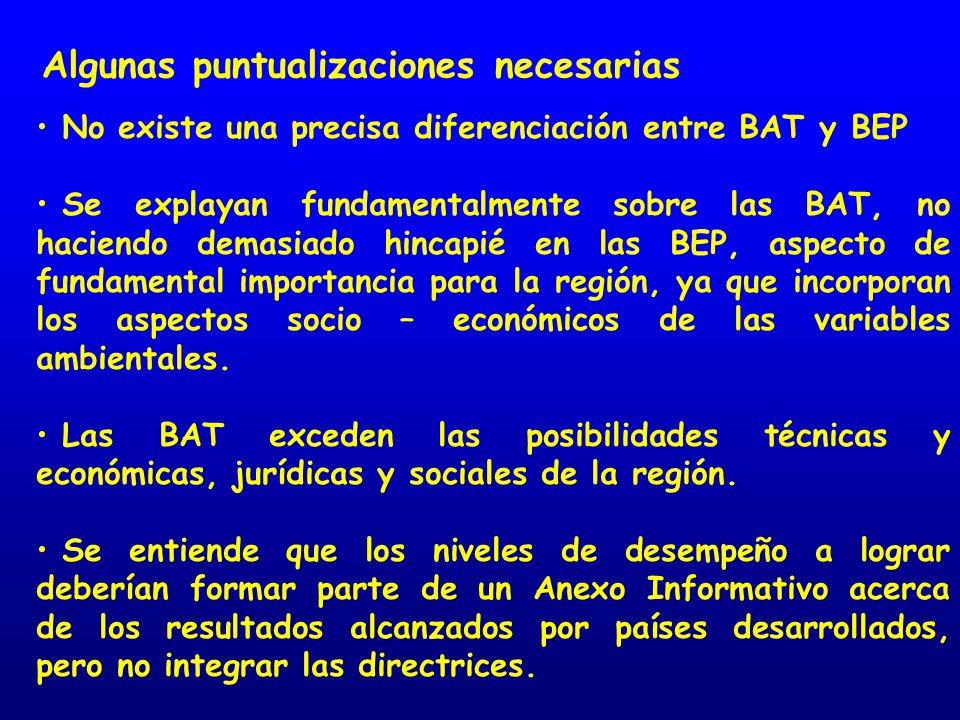 Algunas puntualizaciones necesarias No existe una precisa diferenciación entre BAT y BEP Se explayan fundamentalmente sobre las BAT, no haciendo demasiado hincapié en las BEP, aspecto de fundamental importancia para la región, ya que incorporan los aspectos socio – económicos de las variables ambientales.