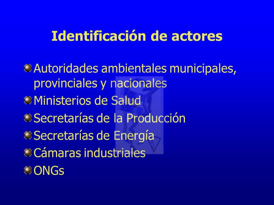 Identificación de actores Autoridades ambientales municipales, provinciales y nacionales Ministerios de Salud Secretarías de la Producción Secretarías de Energía Cámaras industriales ONGs