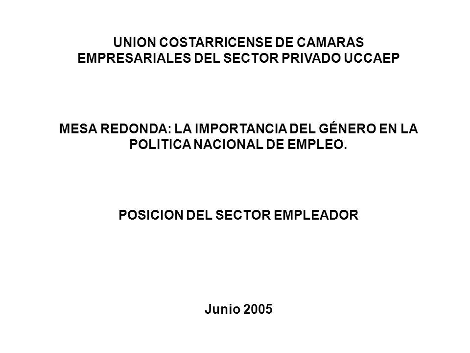 UNION COSTARRICENSE DE CAMARAS EMPRESARIALES DEL SECTOR PRIVADO UCCAEP MESA REDONDA: LA IMPORTANCIA DEL GÉNERO EN LA POLITICA NACIONAL DE EMPLEO.