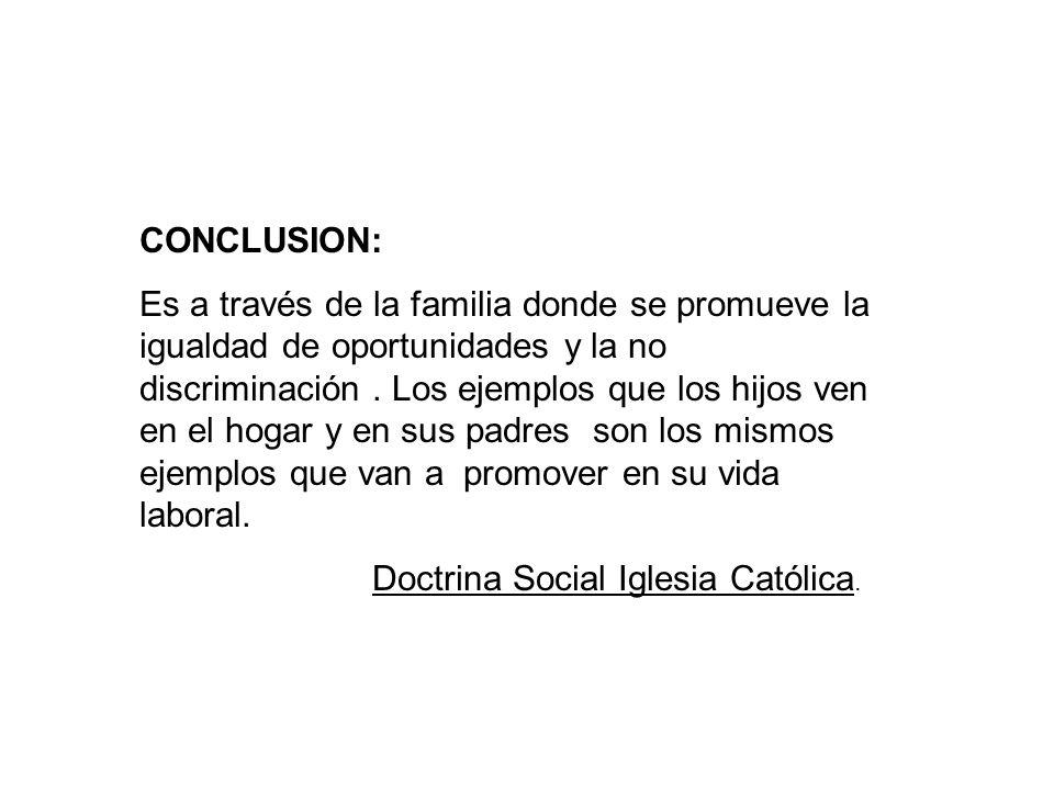 CONCLUSION: Es a través de la familia donde se promueve la igualdad de oportunidades y la no discriminación.