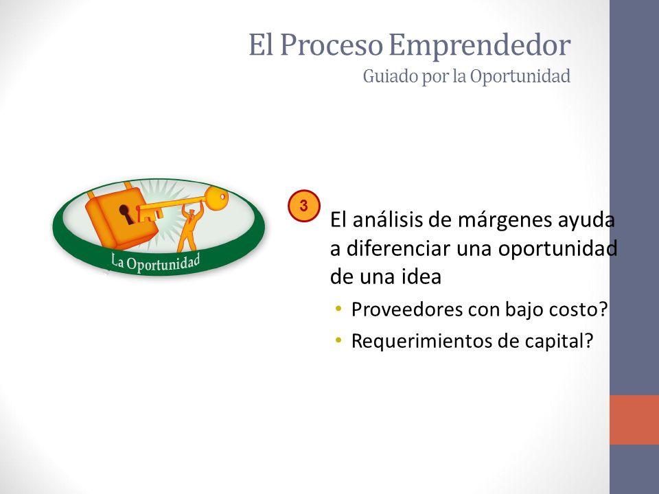 El Proceso Emprendedor Guiado por la Oportunidad El análisis de márgenes ayuda a diferenciar una oportunidad de una idea Proveedores con bajo costo.