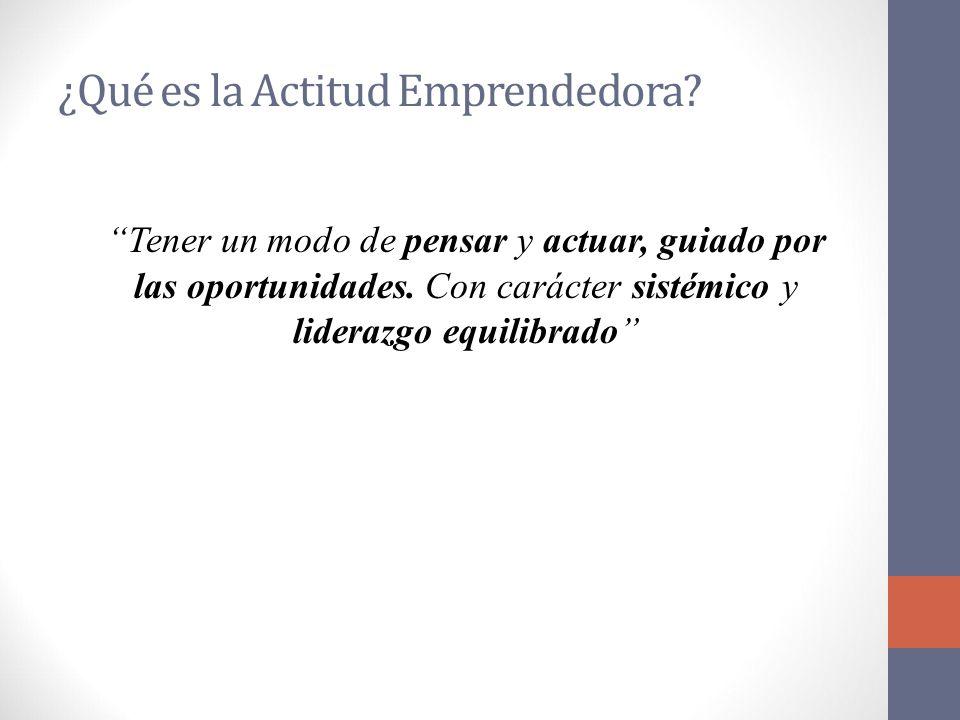 ¿Qué es la Actitud Emprendedora. Tener un modo de pensar y actuar, guiado por las oportunidades.