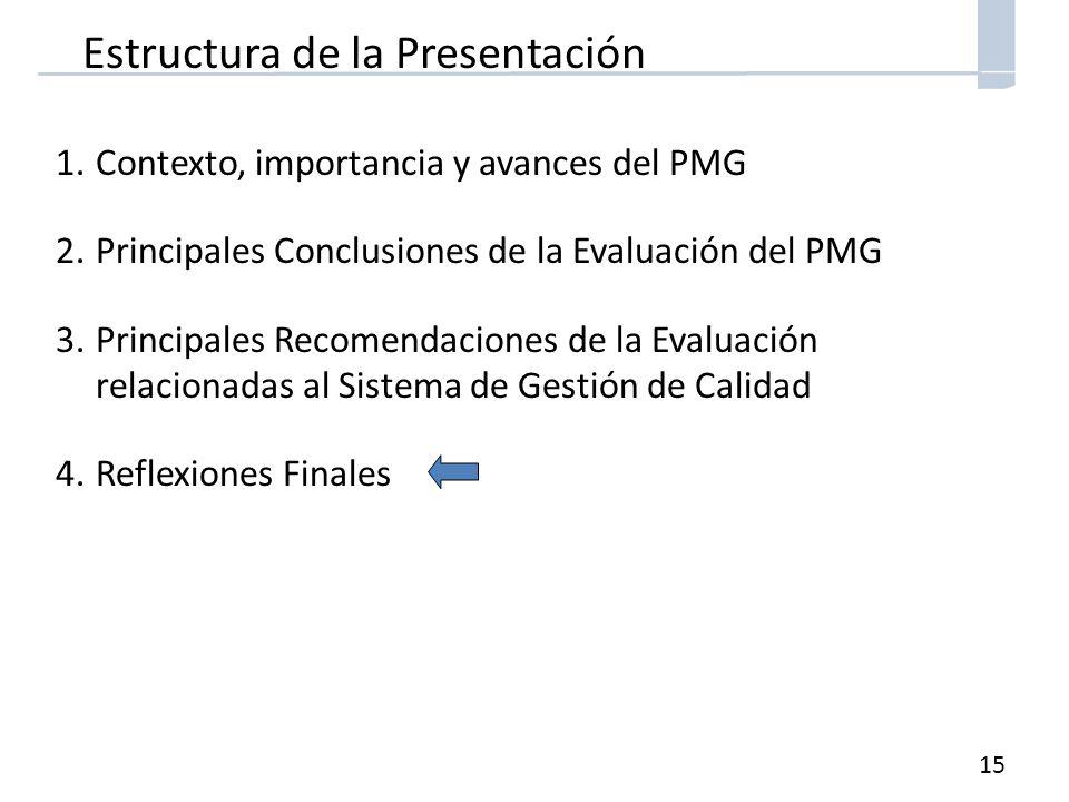 15 Estructura de la Presentación 1.Contexto, importancia y avances del PMG 2.Principales Conclusiones de la Evaluación del PMG 3.Principales Recomendaciones de la Evaluación relacionadas al Sistema de Gestión de Calidad 4.Reflexiones Finales