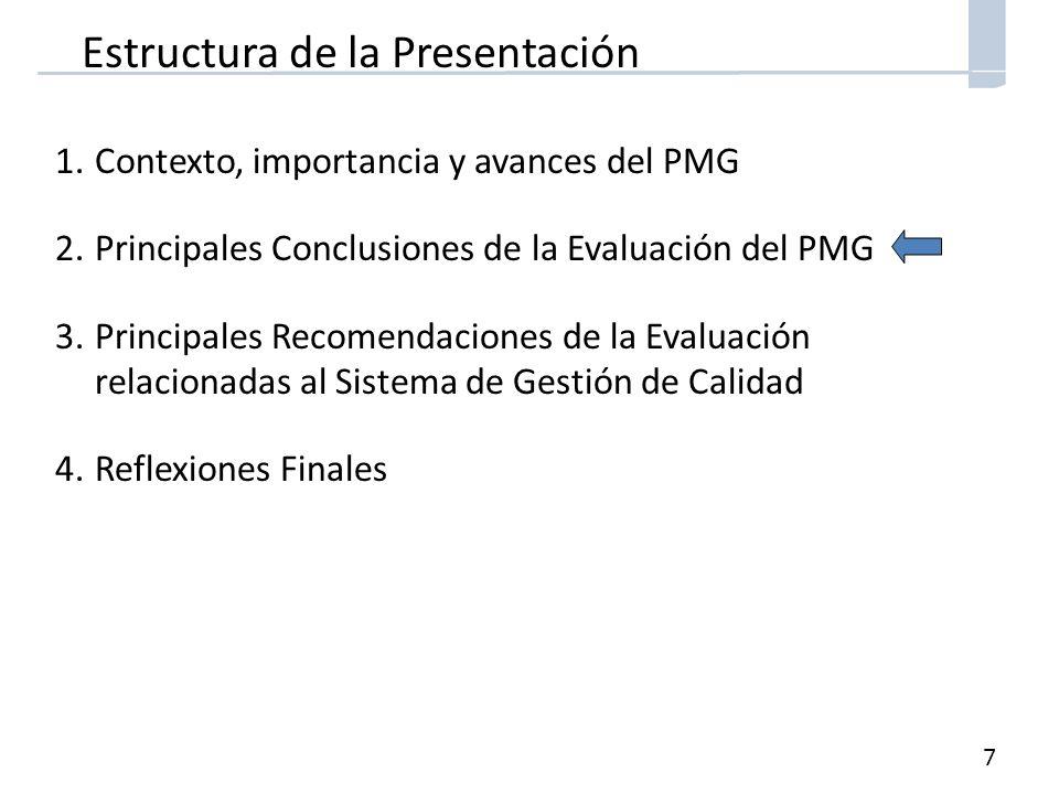 7 Estructura de la Presentación 1.Contexto, importancia y avances del PMG 2.Principales Conclusiones de la Evaluación del PMG 3.Principales Recomendaciones de la Evaluación relacionadas al Sistema de Gestión de Calidad 4.Reflexiones Finales