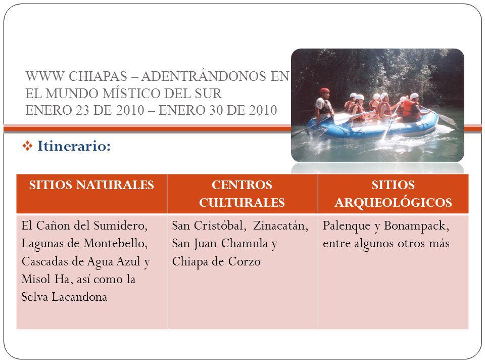 WWW CHIAPAS – ADENTRÁNDONOS EN EL MUNDO MÍSTICO DEL SUR ENERO 23 DE 2010 – ENERO 30 DE 2010  Itinerario: SITIOS NATURALESCENTROS CULTURALES SITIOS ARQUEOLÓGICOS El Cañon del Sumidero, Lagunas de Montebello, Cascadas de Agua Azul y Misol Ha, así como la Selva Lacandona San Cristóbal, Zinacatán, San Juan Chamula y Chiapa de Corzo Palenque y Bonampack, entre algunos otros más