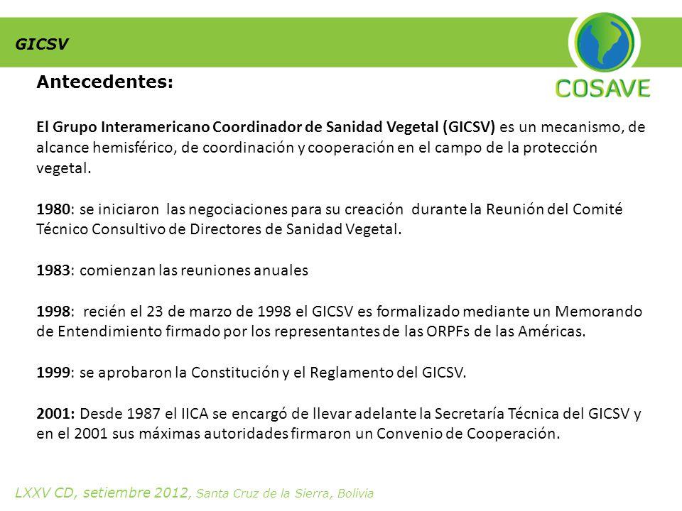 Antecedentes: El Grupo Interamericano Coordinador de Sanidad Vegetal (GICSV) es un mecanismo, de alcance hemisférico, de coordinación y cooperación en el campo de la protección vegetal.