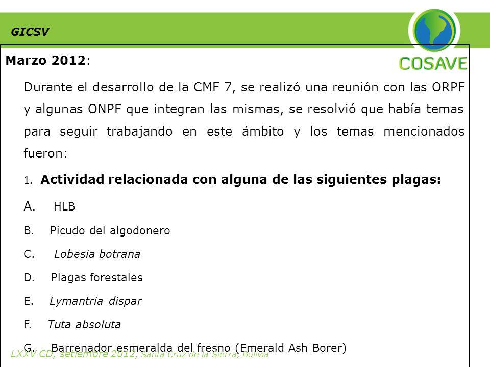 Marzo 2012: Durante el desarrollo de la CMF 7, se realizó una reunión con las ORPF y algunas ONPF que integran las mismas, se resolvió que había temas para seguir trabajando en este ámbito y los temas mencionados fueron: 1.
