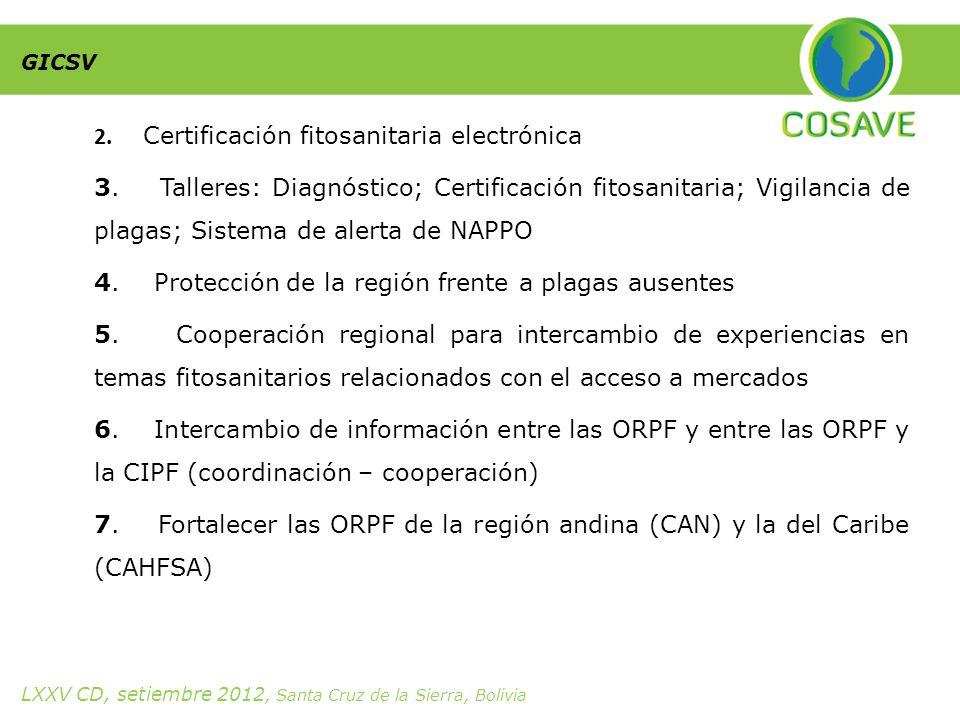2. Certificación fitosanitaria electrónica 3.