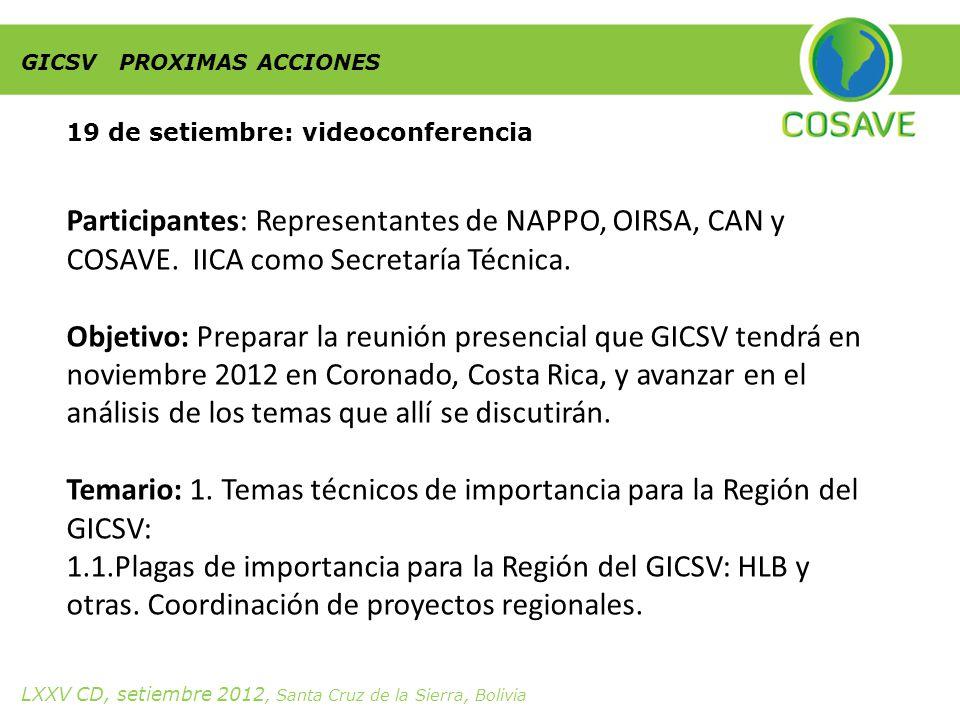 GICSV PROXIMAS ACCIONES 19 de setiembre: videoconferencia Participantes: Representantes de NAPPO, OIRSA, CAN y COSAVE.