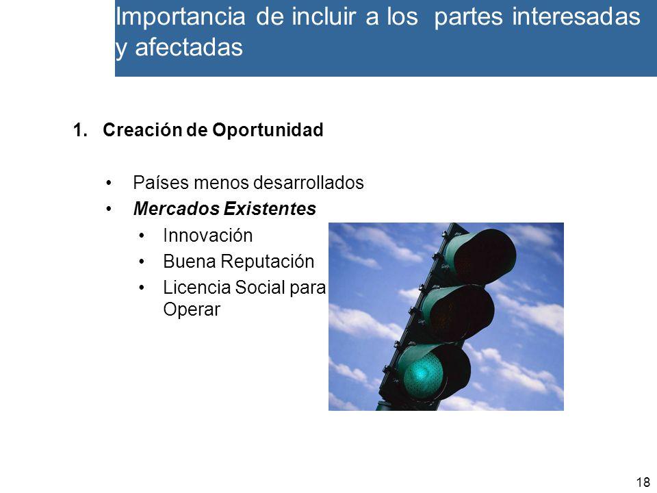 18 Importancia de incluir a los partes interesadas y afectadas 1.Creación de Oportunidad Países menos desarrollados Mercados Existentes Innovación Buena Reputación Licencia Social para Operar