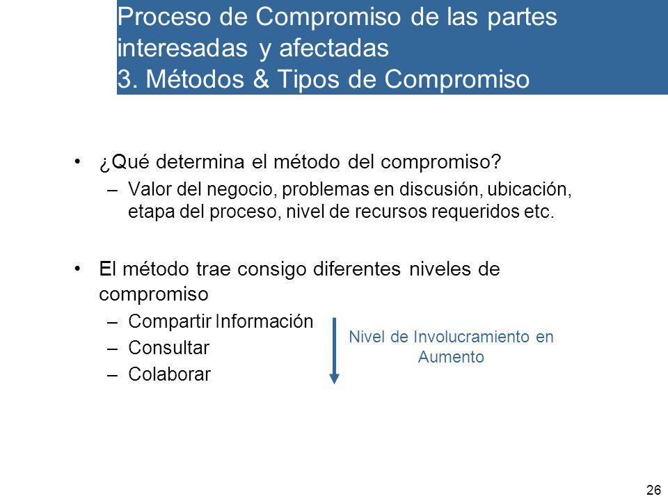 26 Proceso de Compromiso de las partes interesadas y afectadas 3.