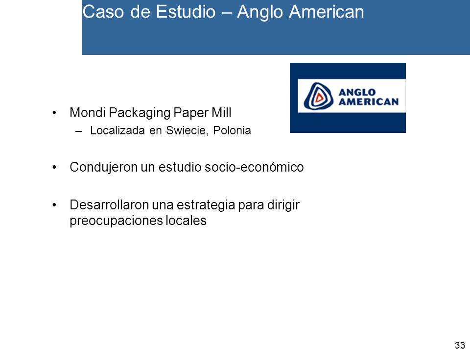 33 Caso de Estudio – Anglo American Mondi Packaging Paper Mill –Localizada en Swiecie, Polonia Condujeron un estudio socio-económico Desarrollaron una estrategia para dirigir preocupaciones locales