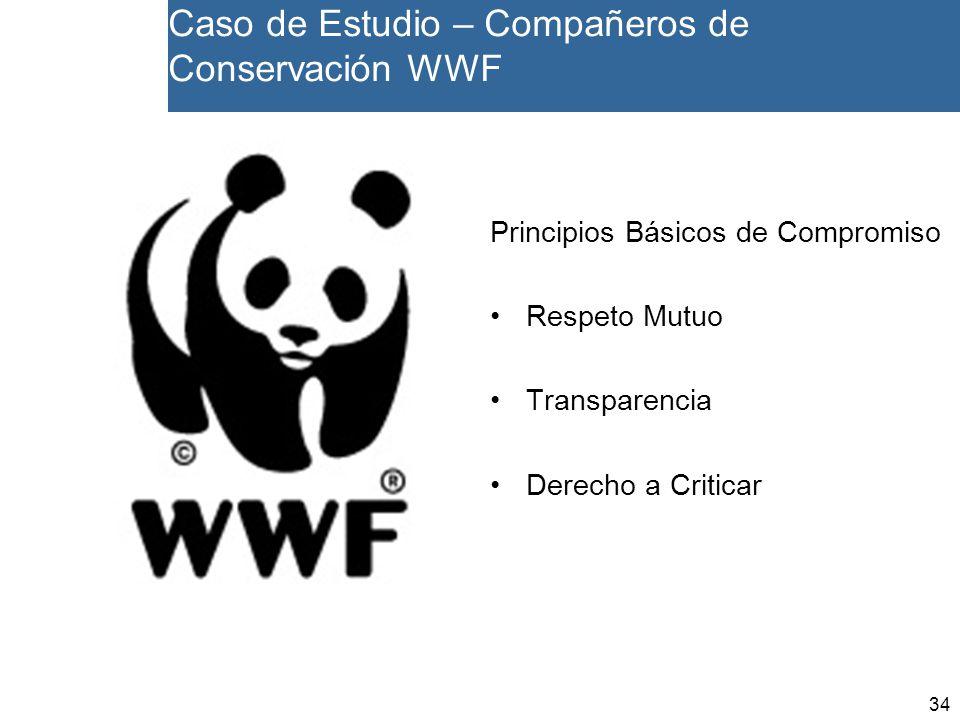 34 Caso de Estudio – Compañeros de Conservación WWF Principios Básicos de Compromiso Respeto Mutuo Transparencia Derecho a Criticar