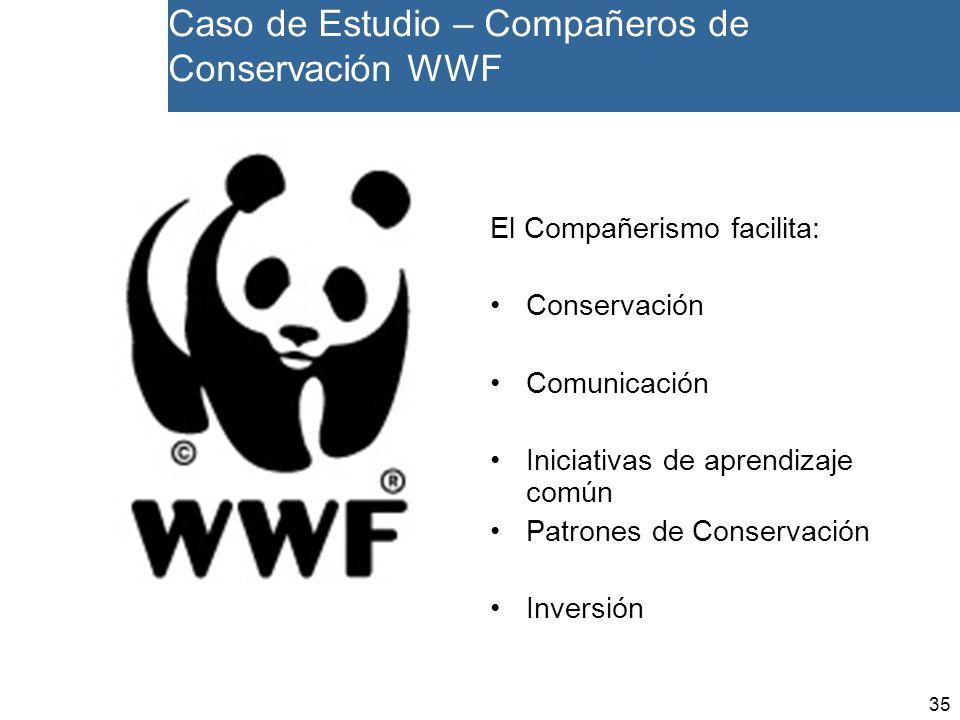 35 El Compañerismo facilita: Conservación Comunicación Iniciativas de aprendizaje común Patrones de Conservación Inversión Caso de Estudio – Compañeros de Conservación WWF