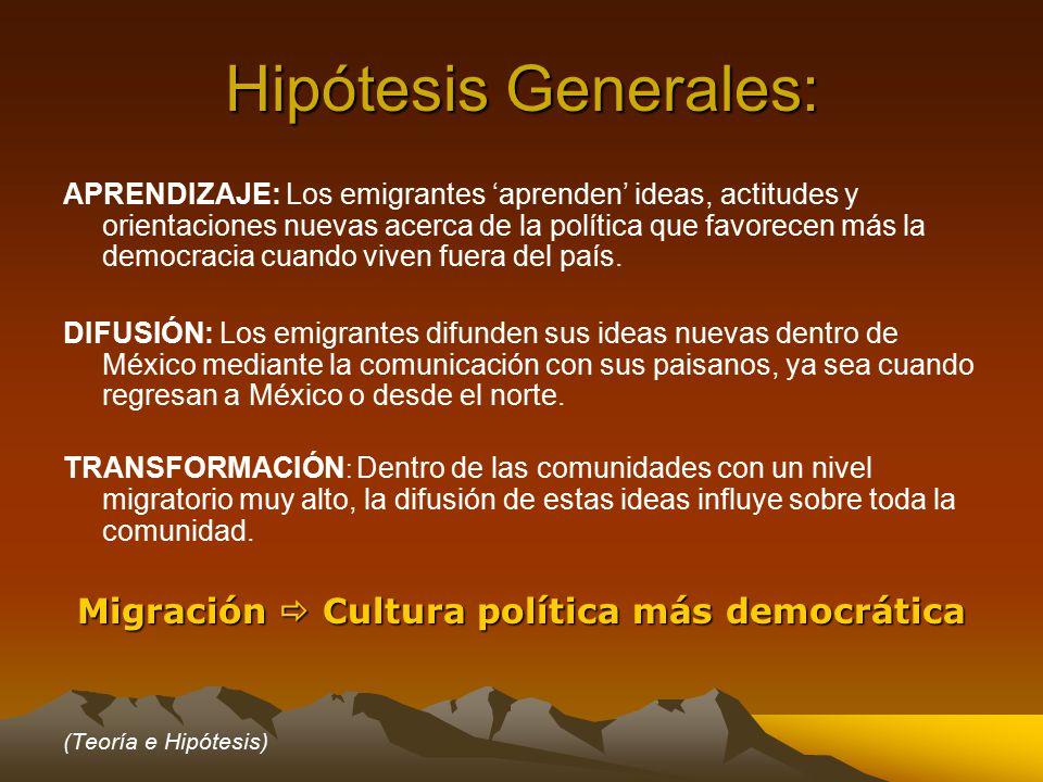 Hipótesis Generales: APRENDIZAJE: Los emigrantes 'aprenden' ideas, actitudes y orientaciones nuevas acerca de la política que favorecen más la democracia cuando viven fuera del país.