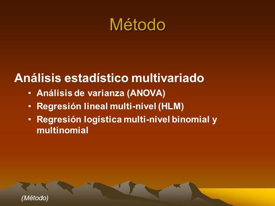Método Análisis estadístico multivariado Análisis de varianza (ANOVA) Regresión lineal multi-nivel (HLM) Regresión logística multi-nivel binomial y multinomial (Método)