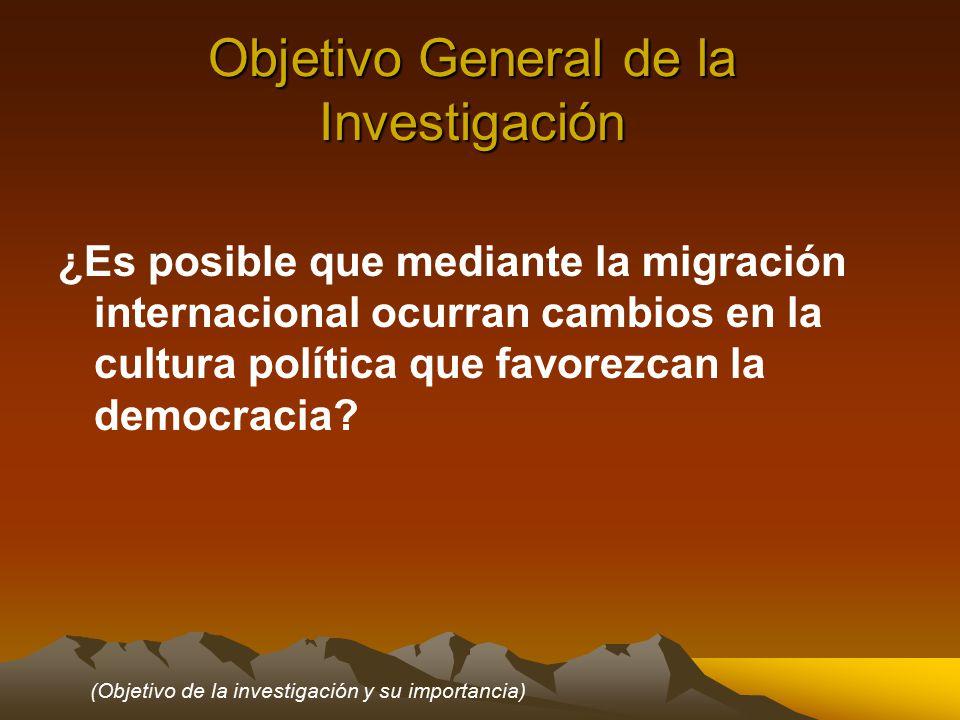Objetivo General de la Investigación ¿Es posible que mediante la migración internacional ocurran cambios en la cultura política que favorezcan la democracia.