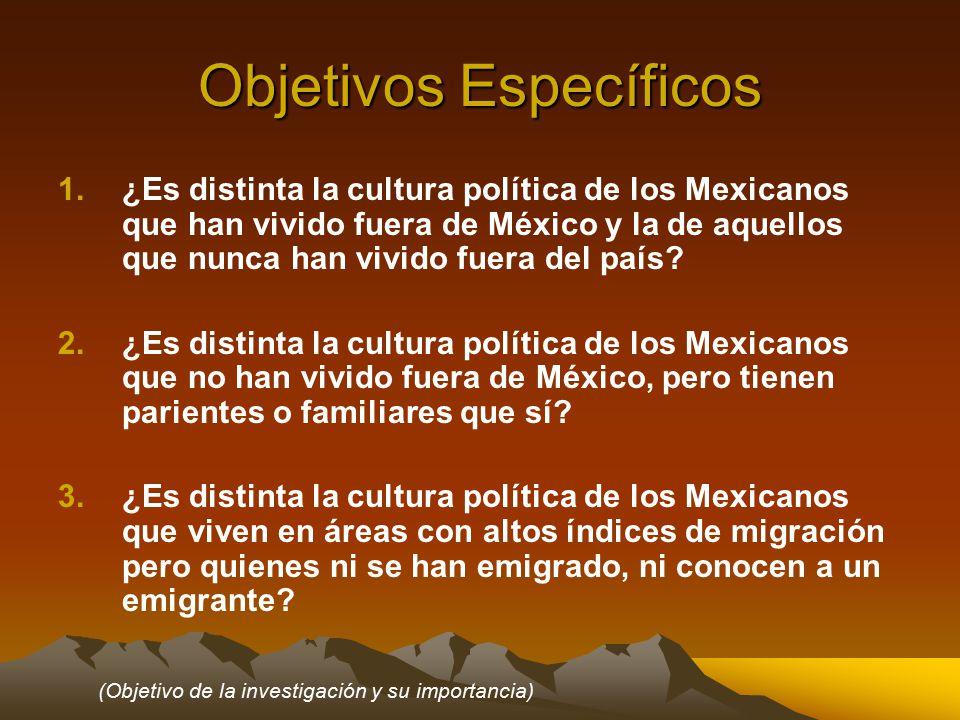 Objetivos Específicos 1.¿Es distinta la cultura política de los Mexicanos que han vivido fuera de México y la de aquellos que nunca han vivido fuera del país.
