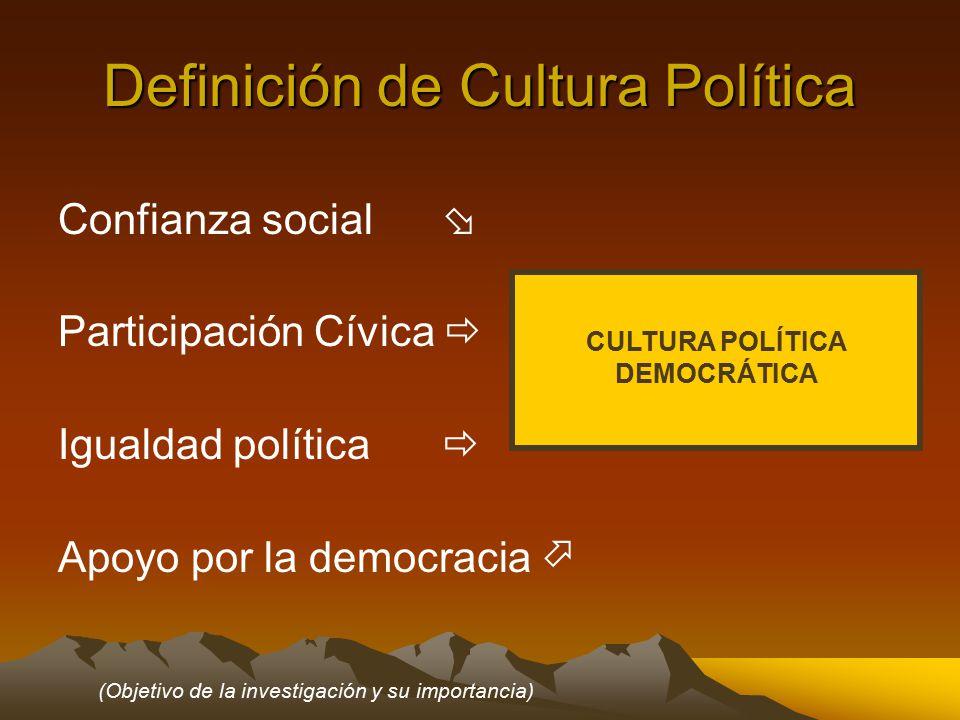 Definición de Cultura Política Confianza social  Participación Cívica  Igualdad política  Apoyo por la democracia  CULTURA POLÍTICA DEMOCRÁTICA (Objetivo de la investigación y su importancia)