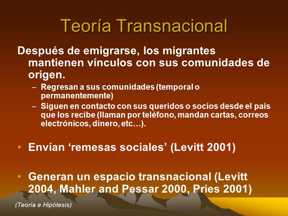 Teoría Transnacional Después de emigrarse, los migrantes mantienen vínculos con sus comunidades de origen.