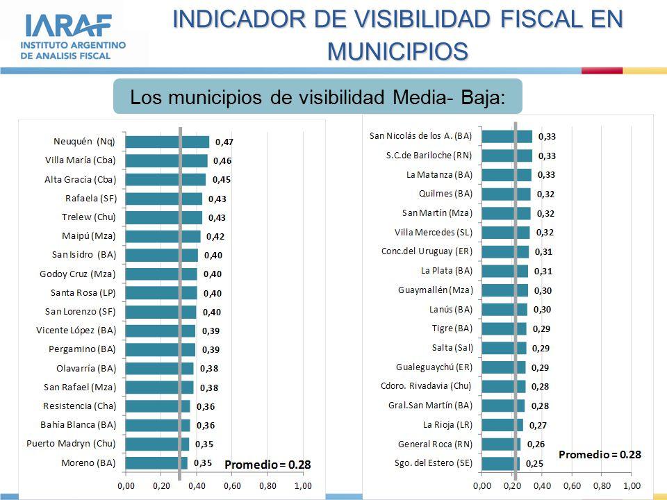 INDICADOR DE VISIBILIDAD FISCAL EN MUNICIPIOS Los municipios de visibilidad Media- Baja: