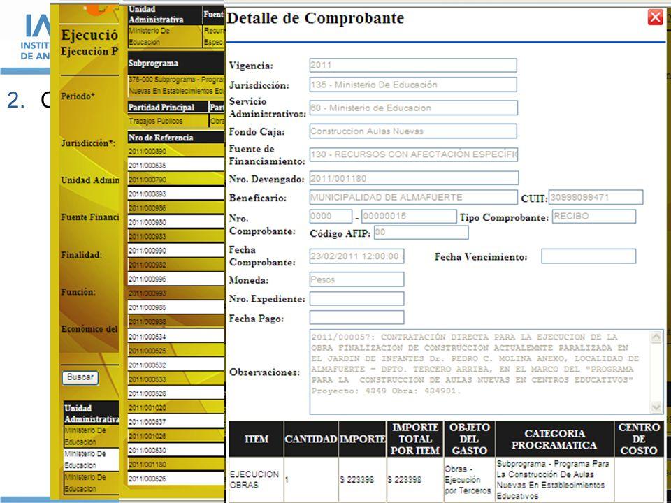 EJEMPLOS DE BUENAS PRÁCTICAS EN PROVINCIAS ARGENTINAS 2.Contabilidad on-line y detalle de la información en Córdoba