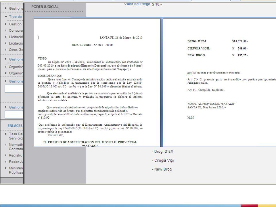 EJEMPLOS DE BUENAS PRÁCTICAS EN PROVINCIAS ARGENTINAS 4.Compras y licitaciones en Santa Fe