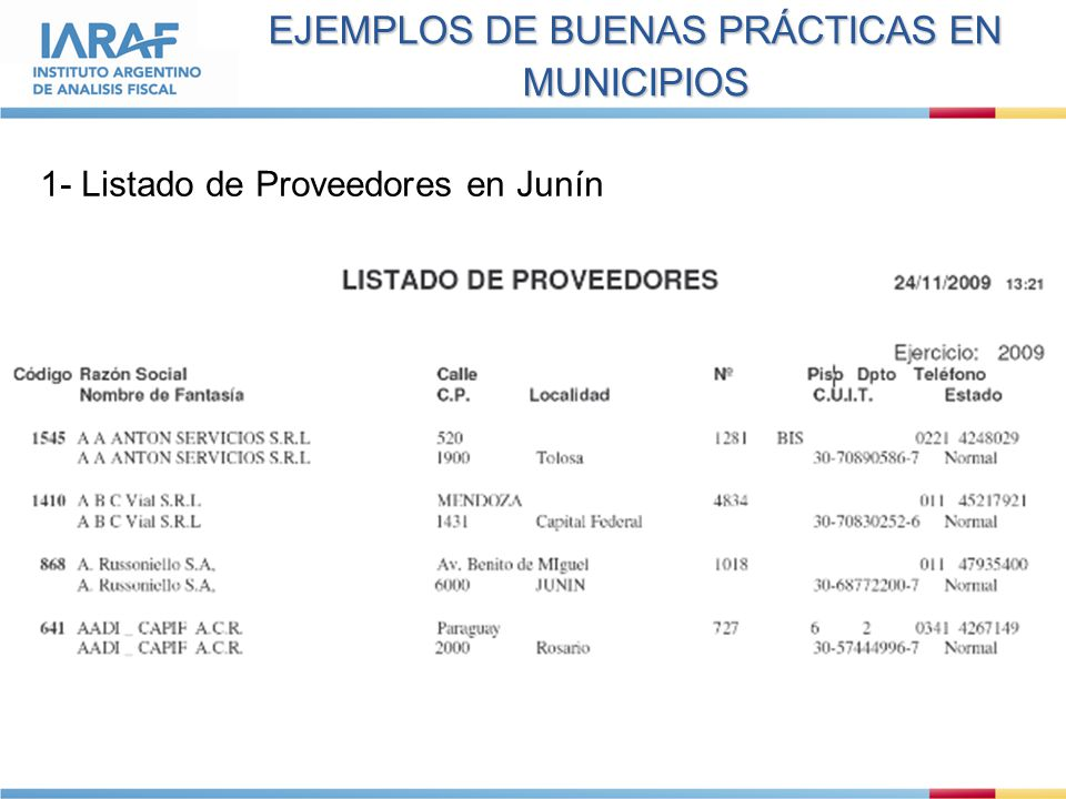 EJEMPLOS DE BUENAS PRÁCTICAS EN MUNICIPIOS 1- Listado de Proveedores en Junín