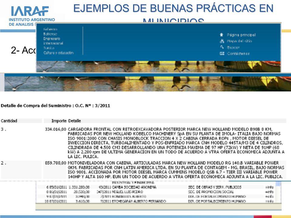 EJEMPLOS DE BUENAS PRÁCTICAS EN MUNICIPIOS 2- Acceso a compras detalladas en Bahía Blanca