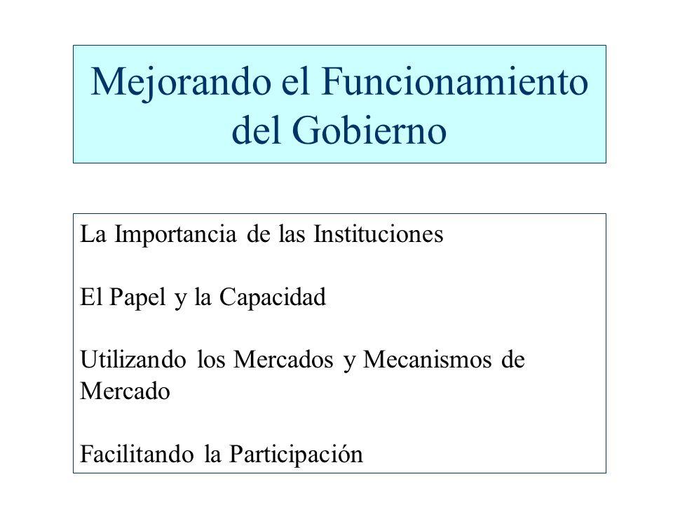 Mejorando el Funcionamiento del Gobierno La Importancia de las Instituciones El Papel y la Capacidad Utilizando los Mercados y Mecanismos de Mercado Facilitando la Participación