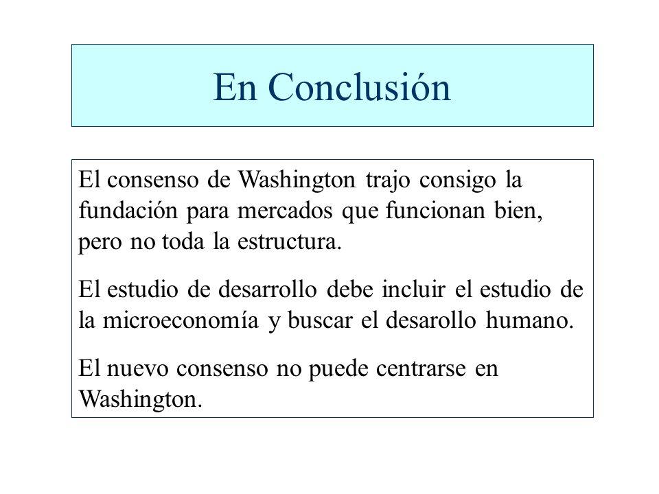 En Conclusión El consenso de Washington trajo consigo la fundación para mercados que funcionan bien, pero no toda la estructura.