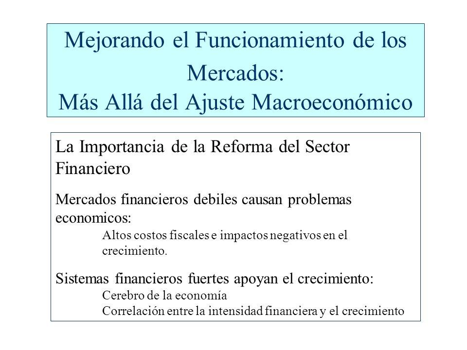 Mejorando el Funcionamiento de los Mercados: Más Allá del Ajuste Macroeconómico La Importancia de la Reforma del Sector Financiero Mercados financieros debiles causan problemas economicos: Altos costos fiscales e impactos negativos en el crecimiento.