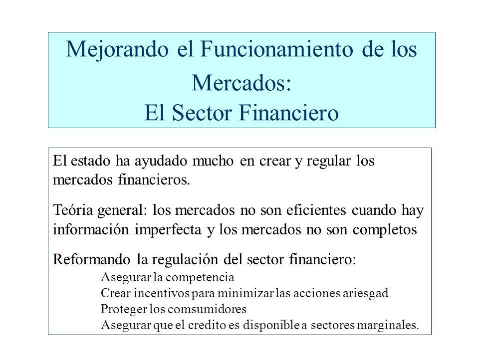 Mejorando el Funcionamiento de los Mercados: El Sector Financiero El estado ha ayudado mucho en crear y regular los mercados financieros.