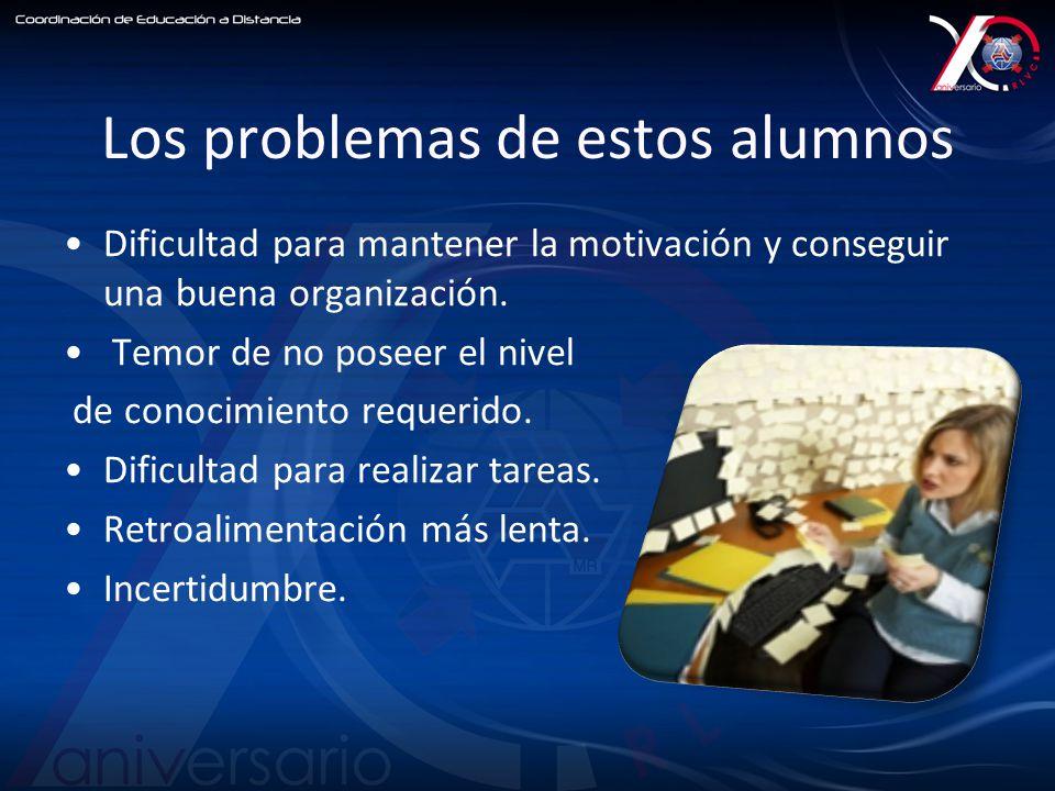 Los problemas de estos alumnos Dificultad para mantener la motivación y conseguir una buena organización.