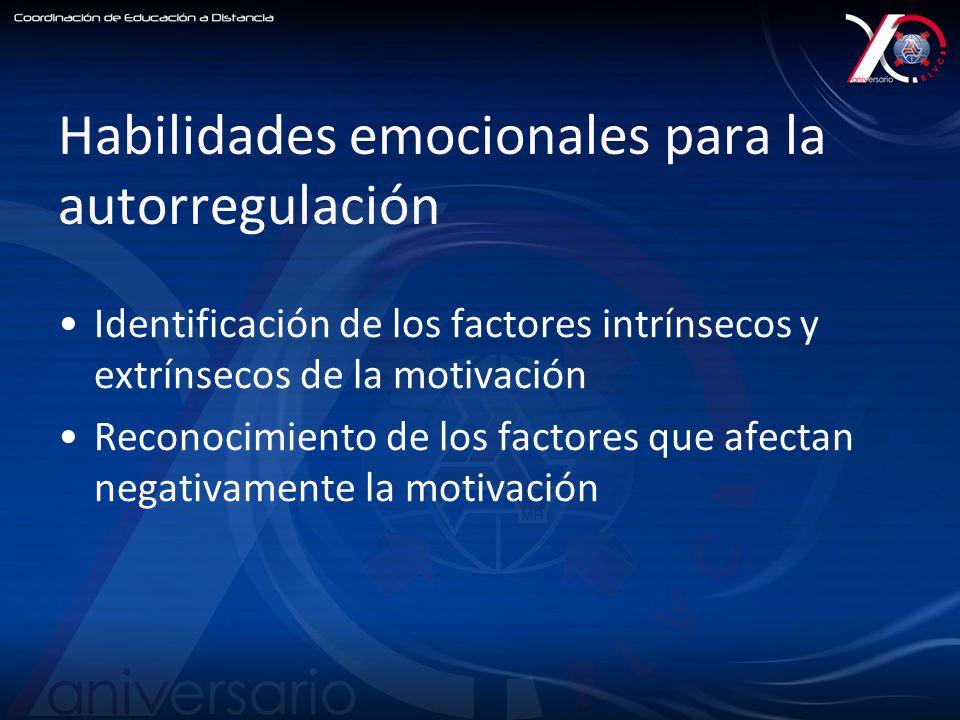 Habilidades emocionales para la autorregulación Identificación de los factores intrínsecos y extrínsecos de la motivación Reconocimiento de los factores que afectan negativamente la motivación