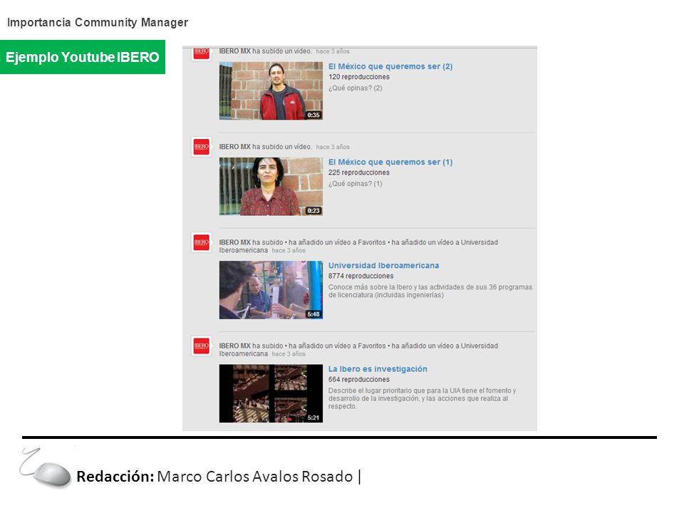 Importancia Community Manager Ejemplo Youtube IBERO Redacción: Marco Carlos Avalos Rosado |