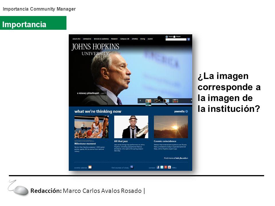 Importancia Community Manager Importancia ¿La imagen corresponde a la imagen de la institución.