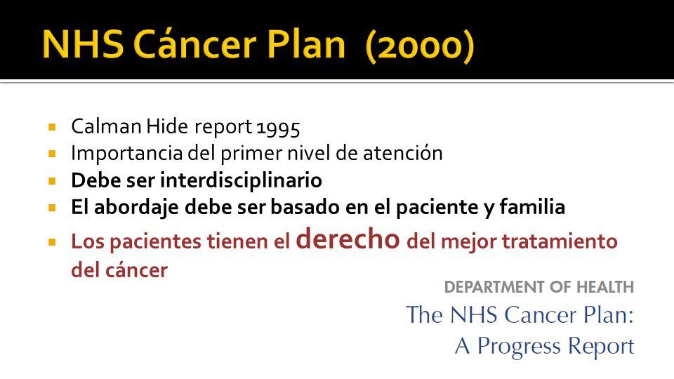  Calman Hide report 1995  Importancia del primer nivel de atención  Debe ser interdisciplinario  El abordaje debe ser basado en el paciente y familia  Los pacientes tienen el derecho del mejor tratamiento del cáncer