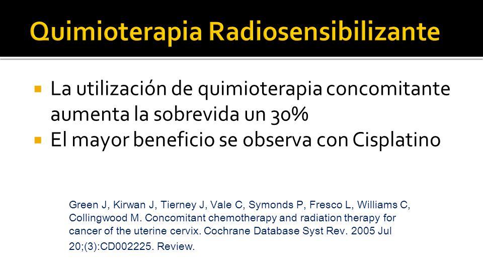  La utilización de quimioterapia concomitante aumenta la sobrevida un 30%  El mayor beneficio se observa con Cisplatino Green J, Kirwan J, Tierney J, Vale C, Symonds P, Fresco L, Williams C, Collingwood M.