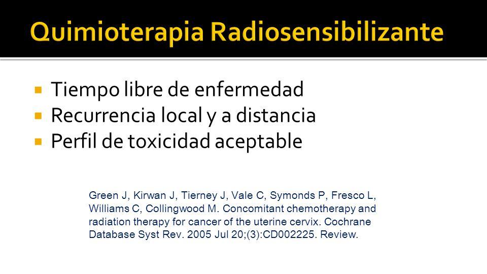  Tiempo libre de enfermedad  Recurrencia local y a distancia  Perfil de toxicidad aceptable Green J, Kirwan J, Tierney J, Vale C, Symonds P, Fresco L, Williams C, Collingwood M.