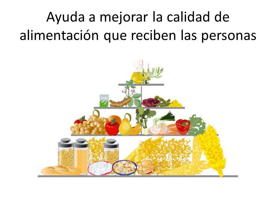 Ayuda a mejorar la calidad de alimentación que reciben las personas