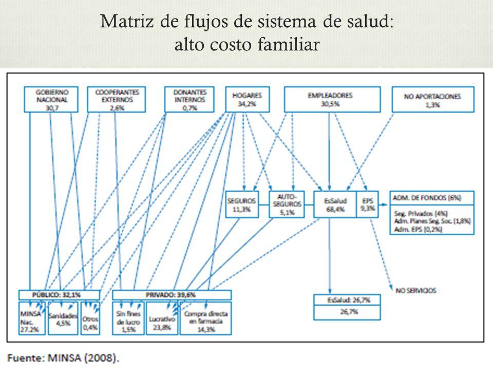Matriz de flujos de sistema de salud: alto costo familiar