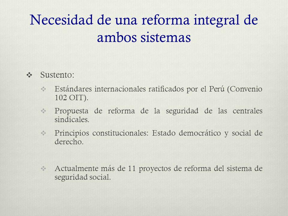 Necesidad de una reforma integral de ambos sistemas  Sustento:  Estándares internacionales ratificados por el Perú (Convenio 102 OIT).