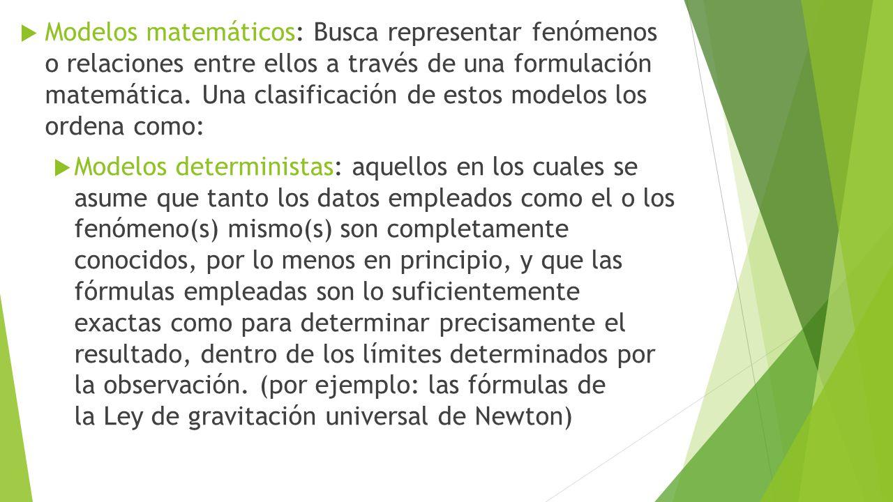  Modelos estocásticos o probabilísticos, en el cual no se asume lo anterior, lo que implica que el resultado es una probabilidad.
