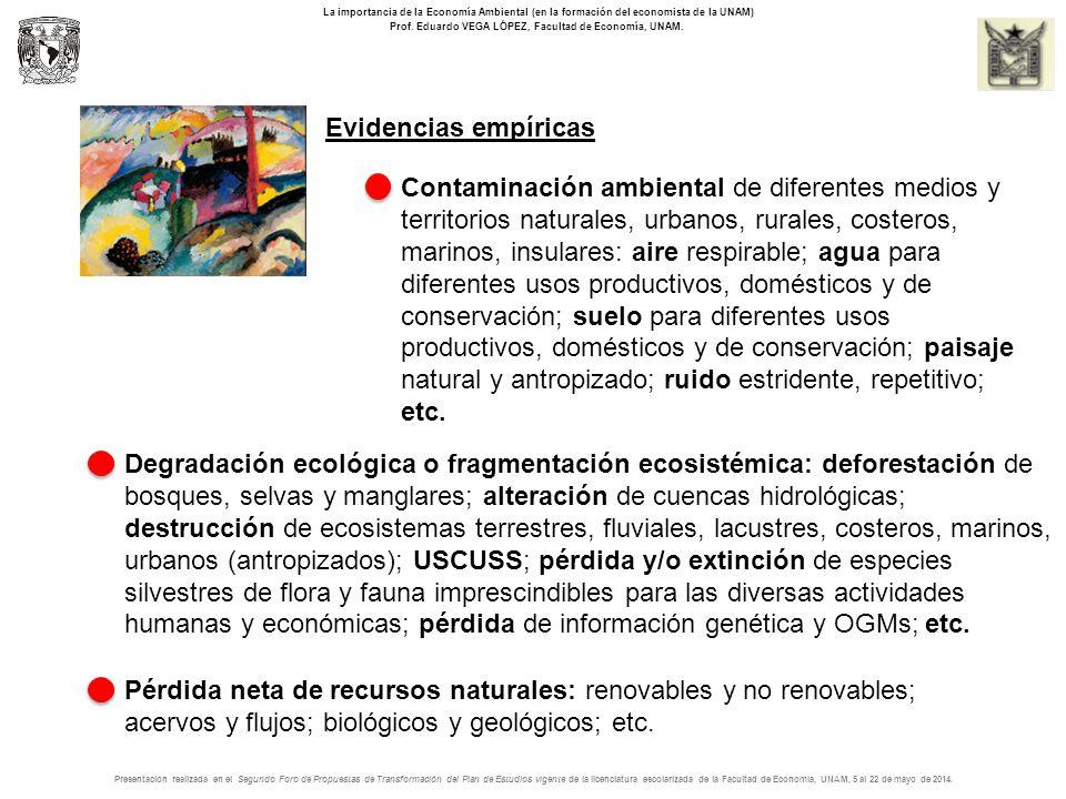 Evidencias empíricas La importancia de la Economía Ambiental (en la formación del economista de la UNAM) Prof.