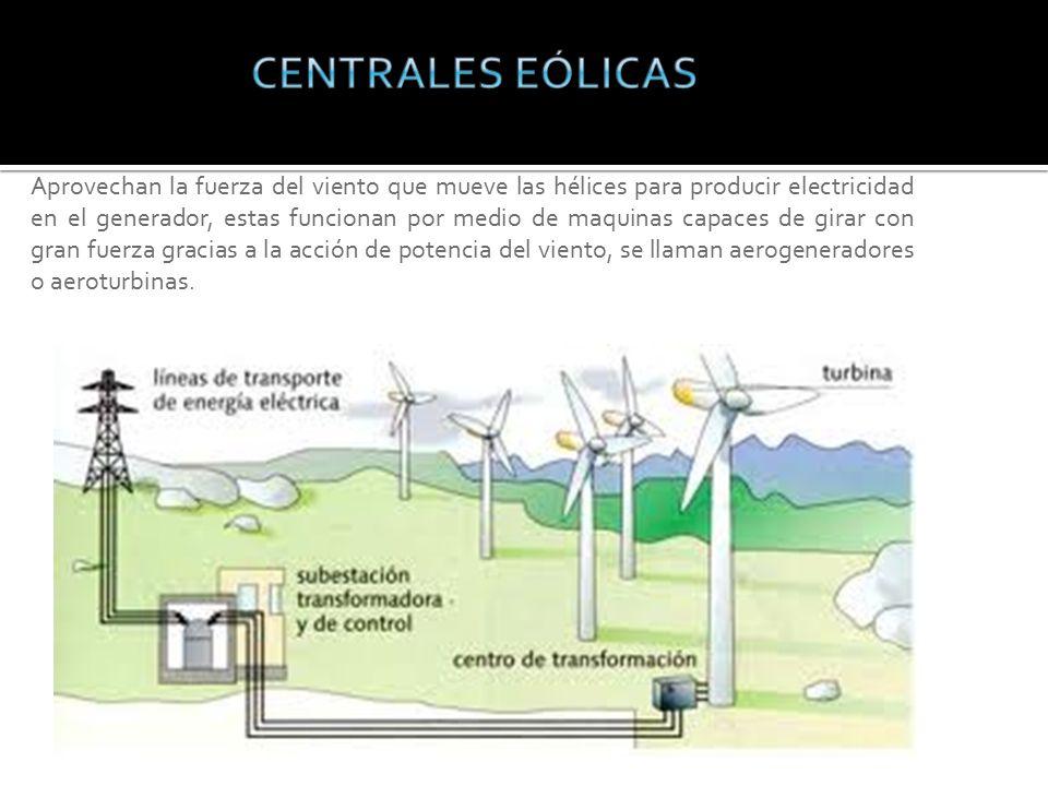 Aprovechan la fuerza del viento que mueve las hélices para producir electricidad en el generador, estas funcionan por medio de maquinas capaces de girar con gran fuerza gracias a la acción de potencia del viento, se llaman aerogeneradores o aeroturbinas.