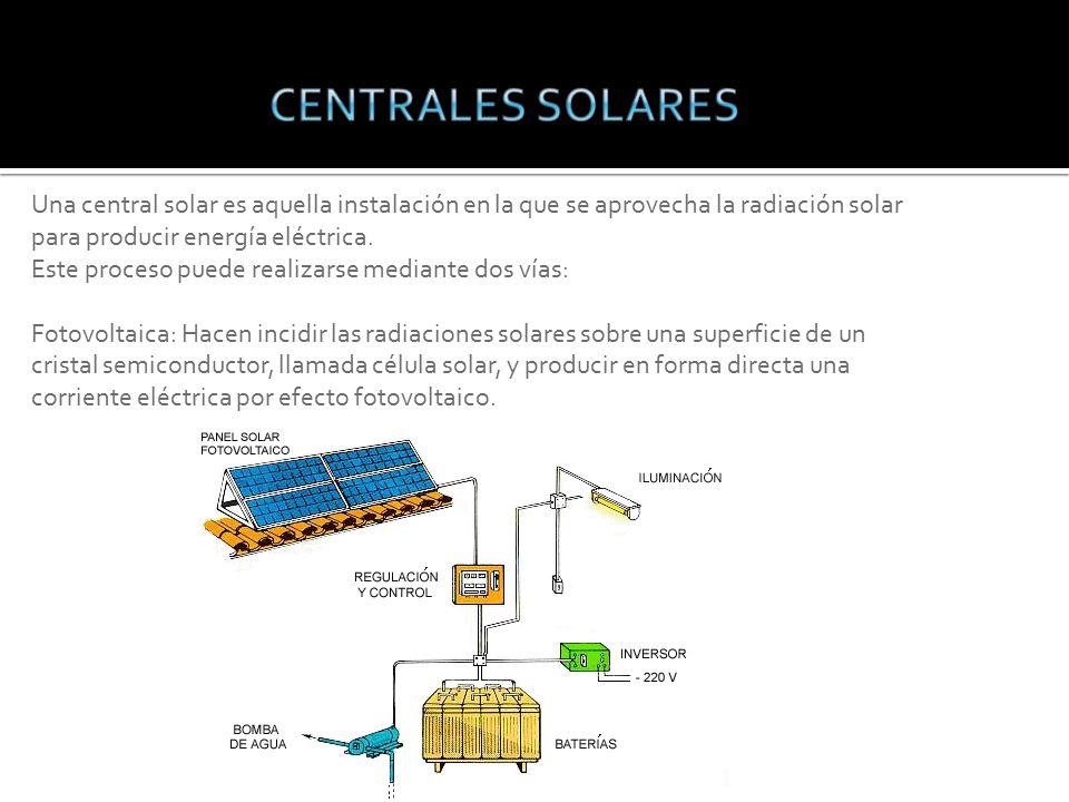 Una central solar es aquella instalación en la que se aprovecha la radiación solar para producir energía eléctrica.