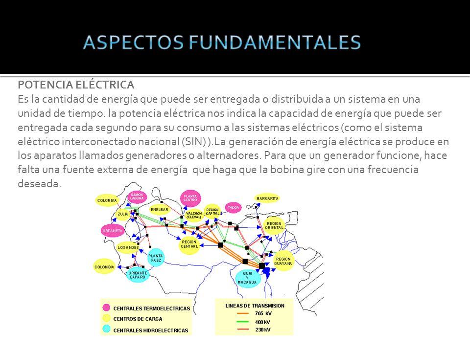 POTENCIA ELÉCTRICA Es la cantidad de energía que puede ser entregada o distribuida a un sistema en una unidad de tiempo.